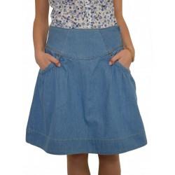 Дънкова пола балон светло син деним до коляното - дамски облекла