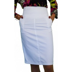 Бяла Дънкова права пола до коляното с висока талия - дамски облекла