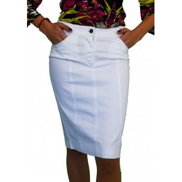 Бяла права пола до коляното - дамски облекла