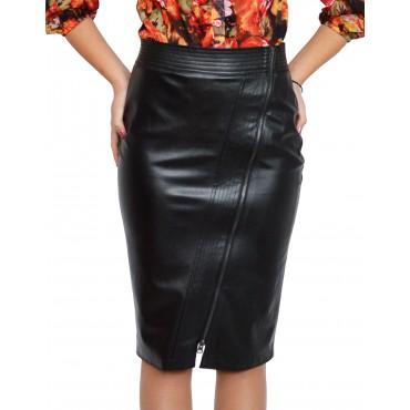 Черна права кожена пола до коляното - дамски облекла