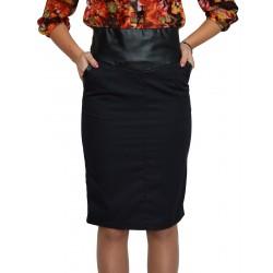 Черна права пола до коляното кожа и плат - дамски облекла