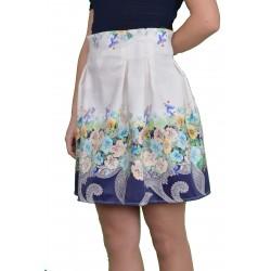 Бяла пола до коляното с флорален мотив