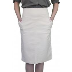 Елегантна дамска лятна пола в светло бежев цвят