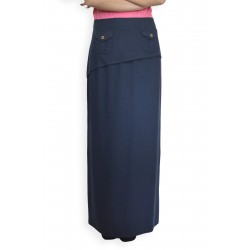 Тъмно синя дамска дълга спортна ленена пола