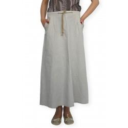 Дамска ленена лятна дълга разкроена пола