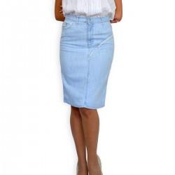 Дамска права лятна пола в светло син деним с дантела