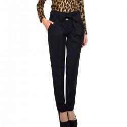 Плътен черен дамски панталон