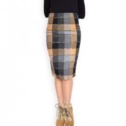 Топла,зимна,карирана, вълнена пола в пастелни цветове