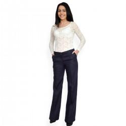 Елегантен тъмно син дамски панталон -класически модел