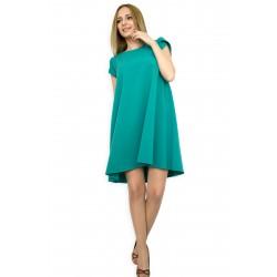 Разкроена изумрудено зелена рокля