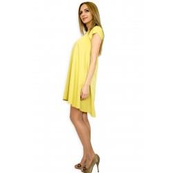 Разкроена лятна жълта рокля с къс ръкав