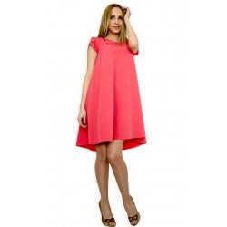 Дамска разкроена лятна рокля с къс ръкав цвят корал