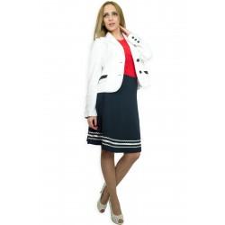Бяло дамско ленено сако с тъмно синя дантела