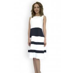 Лятна дамска рокля от бял и тъмно син плат