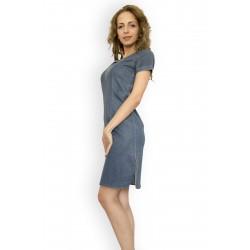 Дамска лятна дънкова рокля с бродерия