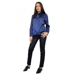 Дамска блуза с подвижна връзка в модерен син цвят
