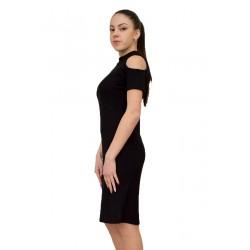 Модерна черна рокля трико