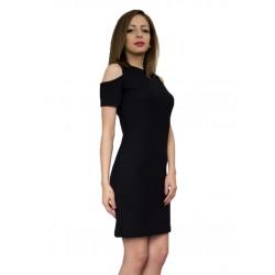 Дамска лятна черна рокля от трико