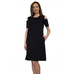 Дамска лятна черна рокля от трико с голо рамо
