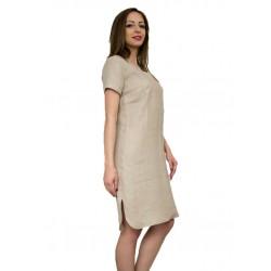 Дамска ленена рокля с бродерия