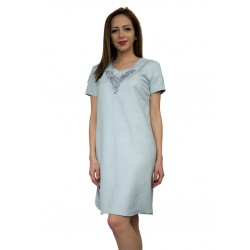 Дамска ленена лятна рокля с бродерия