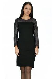 Права черна рокля,съчетание от плътно трико и екокожа