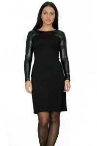 Стилна ,права, черна рокля от еластичен плат и кожа