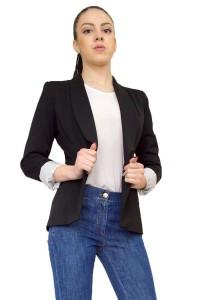 Елегантно дамско сако черен цвят