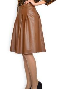 Кафява кожена разкроена пола