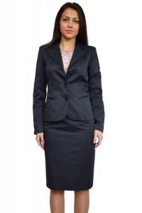 Стилен дамски тъмно син бизнес костюм с пола