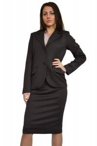 Стилен дамски вълнен костюм с пола тъмно кафяв