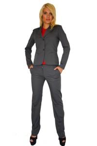 Елегантен сив дамски офис костюм с панталон