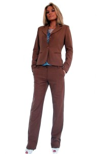Стилен дамски офис костюм с панталон тютюн