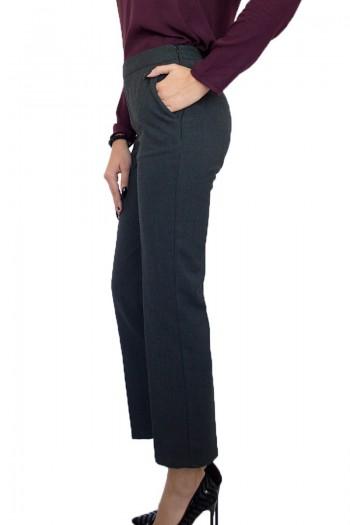 Тъмно сив дамски панталон от фин вълнен плат