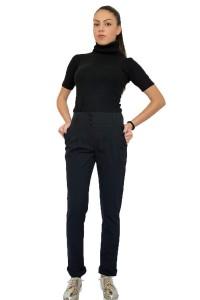 Спортно- елегантен, черен, дамски панталон със свобода в ханша
