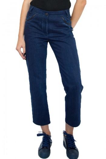 дамски панталон деним 7/8 с кожени елементи