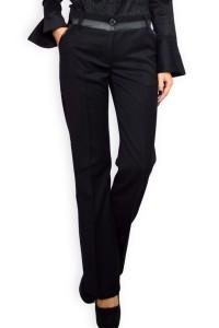 Елегантен панталон от плътен черен плат
