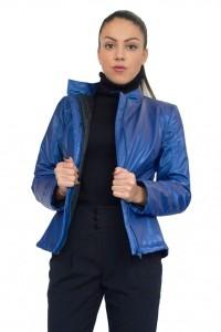 Късо топло зимно ватирано яке в син цвят