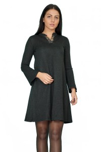 Разкроена рокля в тъмно сив цвят от плътно трико
