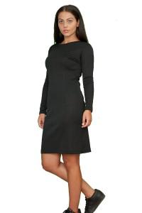 Стилна черна рокля от плътен трикотажен плат