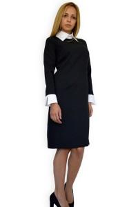 Елегантна дамска черна рокля с дълъг ръкавс втален силует