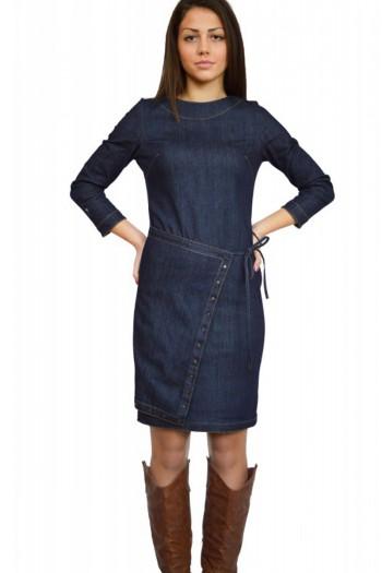 Дънкова рокля до коляното деним с дълъг ръкав