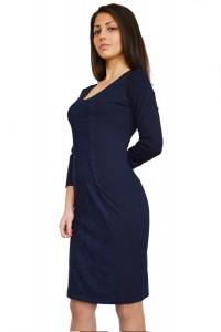 Тъмно синя рокля до коляното с дълъг ръкав
