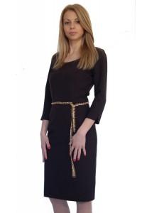 Черна рокля до коляното с дълъг ръкав