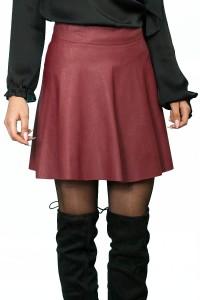 Клоширана пола в цвят бордо от екокожа
