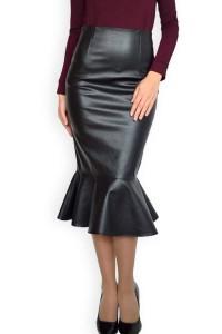 Модерна пола от изкуствена кожа с пеплум