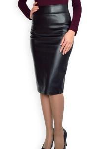 черна кожена пола с цип отзад