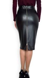 Дамса права черна кожена пола с цип отзад