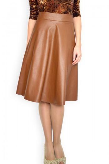 Разкроена пола от изкуствена кожа, цвят брик