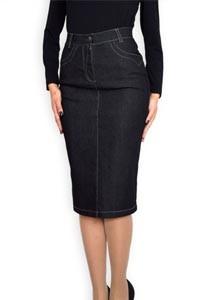 Спортно елегантна черна дънкова пола